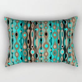 Retro Bohemian Gypsy Beaded Dangles // Vertical Gradient Chocolate Brown, Turquoise, Teal Rectangular Pillow