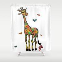 onesie Shower Curtains featuring Giraffe Love by Just Bailey Designs .com