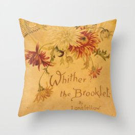 Antique Book Cover for literacy lovers  Floral with ivory and red #longfellow #poetry Throw Pillow