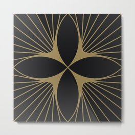 Diamond Series Floral Diamond Gold on Charcoal Metal Print