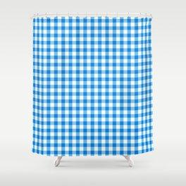 Gingham Print - Blue Shower Curtain