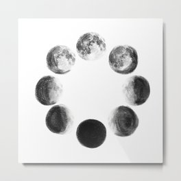 Moon Cycle Watercolor Metal Print