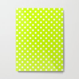 Small Polka Dots - White on Fluorescent Yellow Metal Print