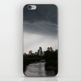 Storm clouds over Calgary and the Stampede grounds iPhone Skin