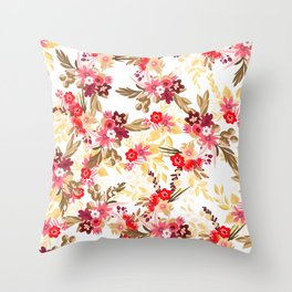 Pastel pink red brown modern hand drawn fall floral illustration Throw Pillow