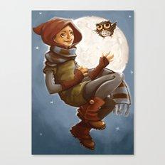Owl Girl Canvas Print