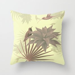 Tropical Hummingbirds Throw Pillow