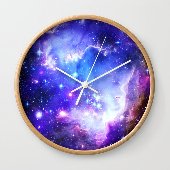 galaxy blue wall clock by whimsy romance amp fun society6