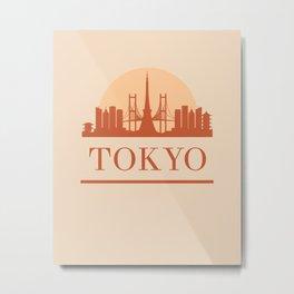 TOKYO JAPAN CITY SKYLINE EARTH TONES Metal Print