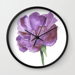 Purple Rose Watercolor Wall Clock