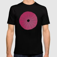 Sea's Design - Urchin Skeleton (Deep Pink) MEDIUM Black Mens Fitted Tee