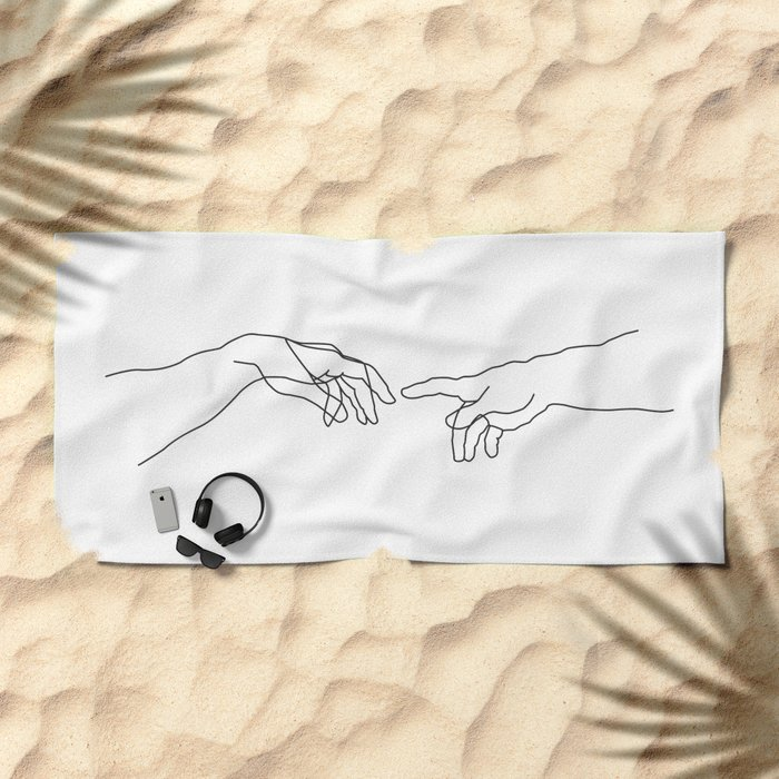 Creation of Adam Minimal Drawing Beach Towel