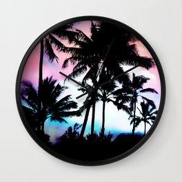 Sunset Summer Palm Trees Wall Clock