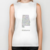alabama Biker Tanks featuring Alabama map by David Zydd