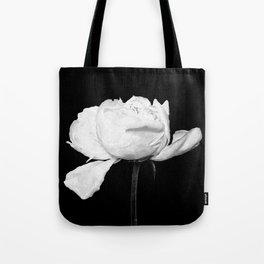 White Peony Black Background Tote Bag