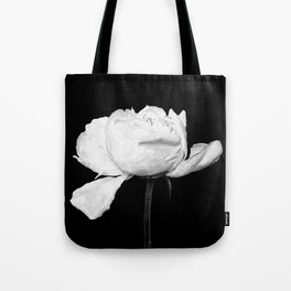 White Peony Black Background Tote Bag