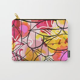 Painted Flowers & leaf Carry-All Pouch