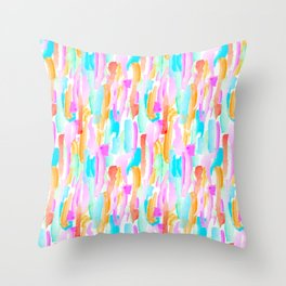 Abstract Brushstrokes - Brights Throw Pillow