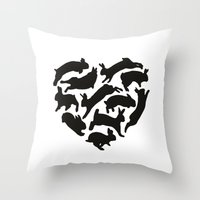 bunnies Throw Pillows featuring Bunnies by Silke Spingies