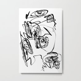 Dancing Flower | Flower Abstract Art |Black and White Art Print Metal Print