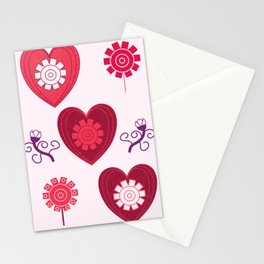 Pink hearts pasley pattern Stationery Cards