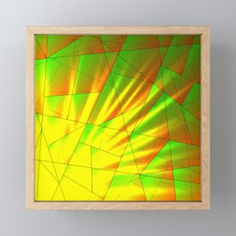 Bright fragments of crystals on irregularly shaped green and yellow triangles. Framed Mini Art Print