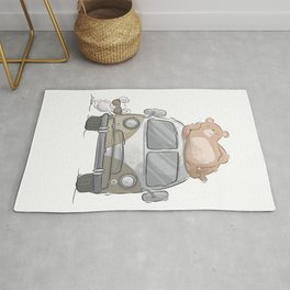 Mouse and bear at travel Rug