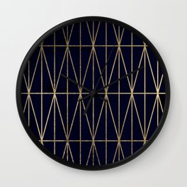 Modern gold geometric triangles pattern navy blue watercolor Wall Clock
