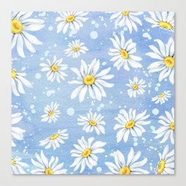 Spring Daisies On Sky Blue Watercolour Canvas Print