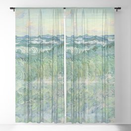 Marine, Pourville Sheer Curtain