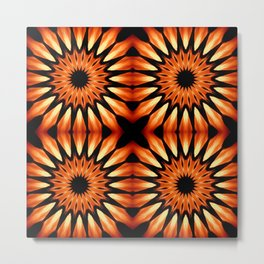 Orange & Black Pinwheel Flowers Metal Print