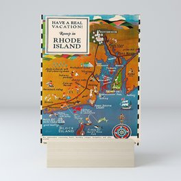 Vintage Romp in Rhode Island Travel Vacation Advertising Poster Mini Art Print