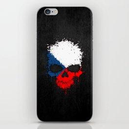 Flag of Czech Republic on a Chaotic Splatter Skull iPhone Skin