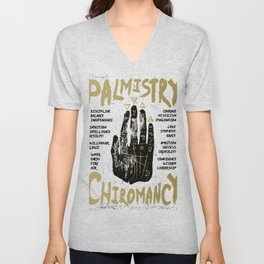 Palmistry, chiromancy. Black hand on a white textured background. Unisex V-Neck