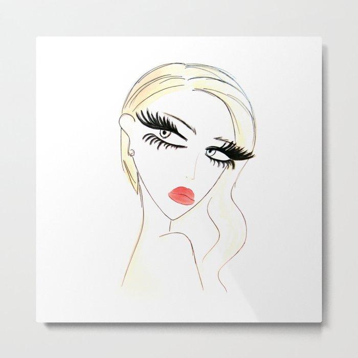 Red Lips Blondy Metal Print