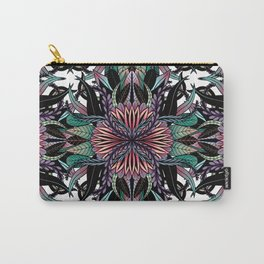 Modern Girly Coral Purple Floral Drawings Carry-All Pouch