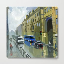 Cityscape, the street after the rain. Metal Print