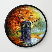 fandom Wall Clocks featuring starry Autumn blue phone box Digital Art iPhone 4 4s 5 5c 6, pillow case, mugs and tshirt by Three Second