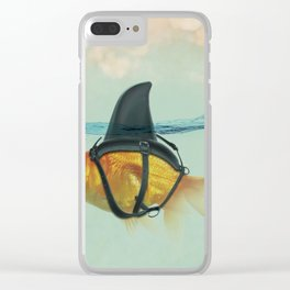 Goldfish with a Shark Fin Clear iPhone Case