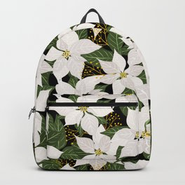 White Poinsettia Floral Backpack