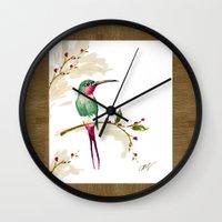 hummingbird Wall Clocks featuring hummingbird by Ariadne