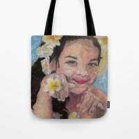 child Tote Bags featuring child by Caterina Zamai