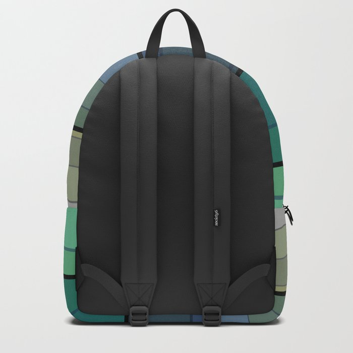 Striped in blue and green tones and a simple pattern . Backpack