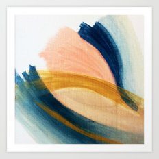 Slow as the Mississippi - Acrylic abstract with pink, blue, and brown Art Print