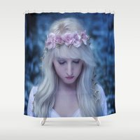 skyrim Shower Curtains featuring Elven girl by Liancary