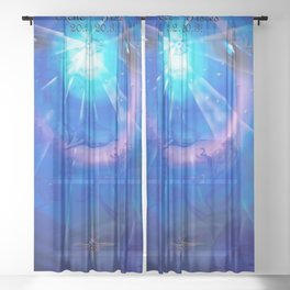Zodiac sign Pisces Sheer Curtain