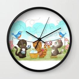 Three Kittens Washing Mittens Wall Clock