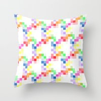 pixel Throw Pillows featuring Pixel by AJJ ▲ Angela Jane Johnston