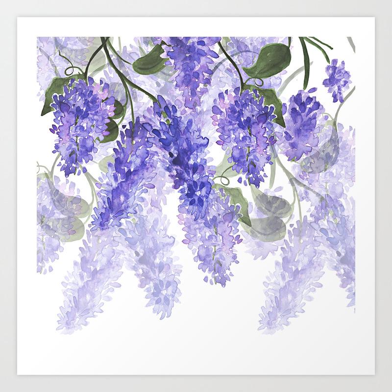 Purple Wisteria Flowers Art Print By Originalaufnahme Society6