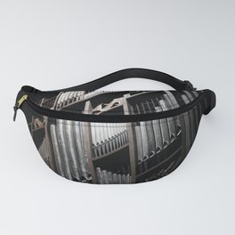 Gray and Brown Steel Organ Musical Instrument Abstract Print Fanny Pack